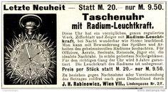Original-Werbung/ Anzeige 1911 - TASCHENUHR MIT RADIUM - LEUCHTKRAFT / RABINOWICZ - WIEN - ca. 90 x 45 mm