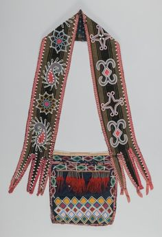 American Indian Art:Beadwork and Quillwork, An Early Delaware Beaded Cloth Bandolier Bag. c. 1840...