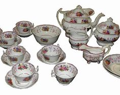 Antique Hand Painted English Pottery Tea Set Fruit c1820