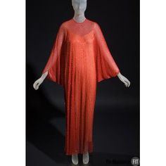 Halston evening caftan, c.1977, USA, Gift of Frederick Supper. Collection of The Museum at FIT #TurnofStyle / Halston did much to advance great dressmaking using simple, rectilinear pattern pieces. This caftan began as a long, parallelogram-shaped piece of fabric, It was folded and stitched in various directions to form a kind of envelope. Halston adhered to his minimalist aesthetic no matter how complicated the pattern.