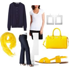 bold yellow, created by bethgholmes on Polyvore, DYT type 4 inspiration