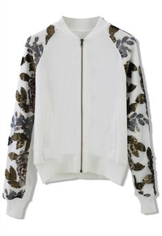 Sequins Floral Leaf Sleeves Bomber Jacket in White