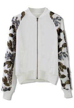 Sequins Sleeves Bomber Jacket