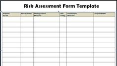 Risk Assessment Form Templates