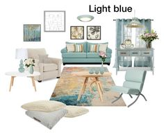 """""""Light blue is relaxing"""" by marianaleonluzardo on Polyvore featuring interior, interiors, interior design, home, home decor, interior decorating, Nourison, Tom Raffield, Graham & Brown and Green Leaf Art"""