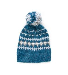 This alpaca kids hat is knitted from quality Peruvian yarn. This winter toddler hat is very soft, cosy and warm. We also have a kid's sweater with the same pattern. The pattern is designed by Istex. Fair Isle Knitting, Hand Knitting, Knitting Patterns, Hand Knitted Sweaters, Knitted Hats, Pom Pom Hat, Alpaca Wool, Kids Hats, Mittens
