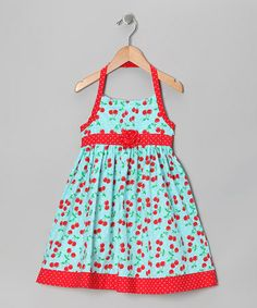 Take a look at this Pastel Blue Cherry Dress - Toddler & Girls by Young Hearts on #zulily today!