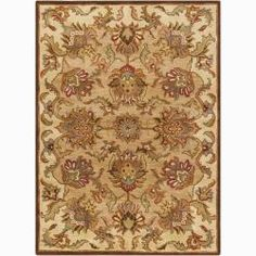 @Overstock.com - Mandara Hand-tufted Oriental Wool Rug (7' x 10') - Create an elegant ambiance to your room with the addition of this handmade oriental wool rug with fringeless border. Intricate details come to life with shades of deep orange, dark brown, beige, gold, deep red, and grey against the brown background.  http://www.overstock.com/Home-Garden/Mandara-Hand-tufted-Oriental-Wool-Rug-7-x-10/6027824/product.html?CID=214117 $334.99