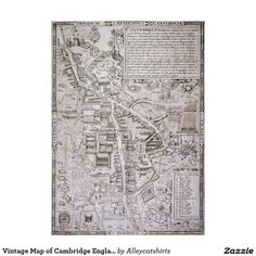 Vintage Map of Cambridge England (1574) Poster