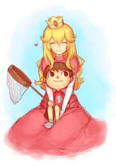 Super Smash Bros. - Peach and villager