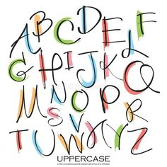 Illustration about Black colorful alphabet uppercase letters.Hand drawn written with a soft watercolor paint brush chalk pencil. Illustration of language, background, alphabet - 63342137 Handwriting Alphabet, Hand Lettering Alphabet, Doodle Alphabet, Cute Fonts Alphabet, Uppercase Alphabet, Simple Calligraphy Alphabet, Learn Calligraphy, Alphabet Art, Journal Fonts