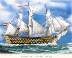 Navio Santísima Trinidad Battle Of Lepanto, Assassins Creed Black Flag, Model Ship Building, Old Sailing Ships, Hms Victory, Ship Of The Line, Ship Paintings, Naval History, Wooden Ship