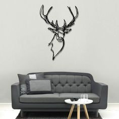 Stag Head Wooden Wall Art - designer wood wall decor by Red candy Make it yourself I say! 3d Wall Decor, 3d Wall Art, Wooden Wall Art, Wood Wall, Wooden Signs, Living Spaces Furniture, Living Rooms, Stag Head, Deco Design