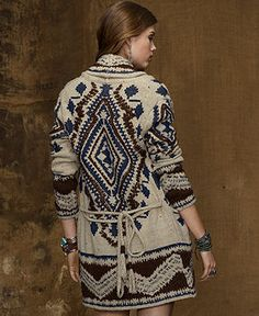 Ralph Lauren Sweater, Long-Sleeve Intarsia-Knit Linen-Blend Cardigan, Tribal