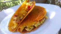 Keto - Cheese shell breakfast taco. When I found out I was diabetic, I knew I was going to miss tacos (one of my favorite meals) but this is a great alternative. Carb-free =)