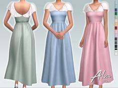 Sifix's Alva Dress Sims Four, Sims 4 Mm Cc, Sims 4 Mods Clothes, Sims 4 Clothing, Art Clothing, Sims 4 Traits, The Sims 4 Packs, Sims 4 Dresses, Sims4 Clothes