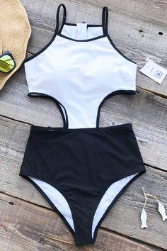 Cupshe Graceful Swan Zipper One-piece Swimsuit - L / White/Black Summer Bathing Suits, Cute Bathing Suits, Summer Suits, Cute Swimsuits, Cute Bikinis, Swimwear Fashion, Bikini Swimwear, Sporty Swimwear, Monokini Swimsuits