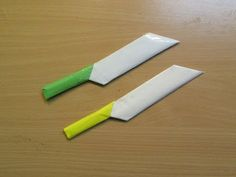 How to Make a Paper Knife - Easy Tutorials Origami Dove, Kids Origami, Origami Paper, Easy Paper Crafts, Diy Paper, Origami Knife, Paper Sword, Paper Shaper, Ninja Birthday Parties