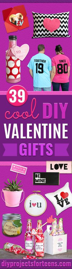 DIY Valentine Gifts -Gifts for Her and Him, Teens, Teenagers and Tweens - Mason Jar Ideas, Homemade Cards, Cheap and Easy Gift Ideas for Valentine Presents http://diyprojectsforteens.com/diy-valentine-gifts