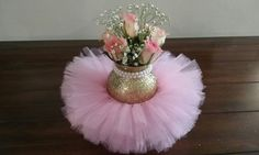Pink and gold pearl tutu centerpieces