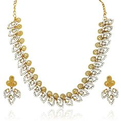 Ethnic  Party Wedding Wear CZ Gold Plated Women & Girls Jewelry Necklace Set #natural_gems15