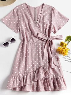 Summer No Polka Ruffles Short V-Collar Mini Casual and Going Knotted Ruffles Polka Dot Dress Girly Outfits, Cute Casual Outfits, Pretty Outfits, Pretty Dresses, Casual Dresses, Fashion Dresses, Mini Dresses, Prom Dresses, Summer Dresses