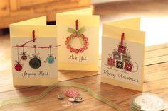 Weihnachtskarten mit alten Knöpfen