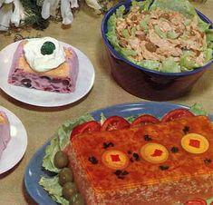 From the top! Chicken Curry Salad. The item in the middle is the Holiday Salad, The item on the bottom is – well, steel yourself. Corned Beef Salad Loaf. I kid you not. Meat Jell-O.