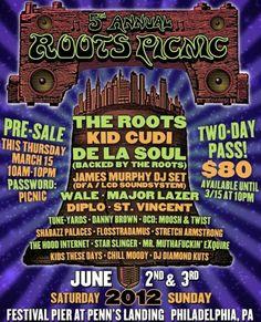 Live Music | Roots Picnic 2012 Announcement – The Roots, Kid Cudi, James Murphy (LCD Soundsystem), De La Soul, tUnE-yArDs, + more  #music