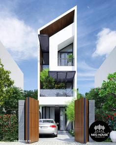 Narrow House Designs, Modern Small House Design, Roof Architecture, Modern Architecture House, Chinese Architecture, Futuristic Architecture, Modern Houses, 3 Storey House Design, House Front Design