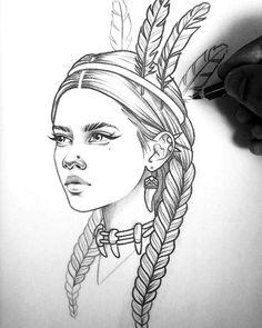 Sketch Tattoo Design, Tattoo Sketches, Tattoo Drawings, Art Tattoos, Tattoo Designs, Girl Drawing Sketches, Cool Art Drawings, Drawing Ideas, Pencil Drawing Images