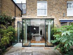 """Képtalálat a következőre: """"glass box extension"""" Glass Roof Extension, 1930s House Extension, House Extension Design, Rear Extension, Extension Designs, Extension Ideas, Glass Cube, Glass Boxes, Glass Porch"""