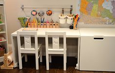 Writing / Art / Work station for kids. How to set up a space for kids to create.   http://keepingcreativityalive.com