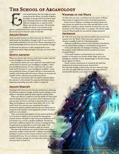 Wizard Subclass: The School of Arcanology [Revision III] Dungeons And Dragons Classes, Dungeons And Dragons Homebrew, Dnd Wizard, Dnd Stats, Dnd Dragons, Dnd Races, Dnd Classes, Wizard School, Dnd Funny