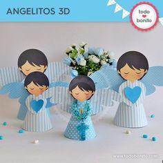 Angelitos 3D para imprimir ángeles. Bautizo o Comunión por Todo Bonito. Diy And Crafts, Crafts For Kids, Paper Crafts, Boy Baptism Centerpieces, Shower Centerpieces, Angel Crafts, Baptism Party, Festa Party, Craft Free