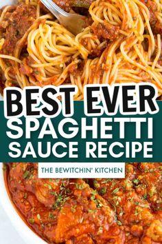 Best Ever Spaghetti Sauce Recipe - Best Pins world Homemade Spaghetti Noodles, Low Sodium Spaghetti Sauce, Spaghetti Squash Sauce, Best Homemade Spaghetti Sauce, Best Spaghetti Recipe, Homemade Chicken Alfredo, Creamy Spaghetti, Spaghetti Dinner, Spaghetti Recipes