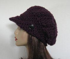 Slouch Newsboy Hat Crochet Slouchy Newsboy  Cap Adult Dark Purple Beanie Hat with Visor and Button Beret Tam