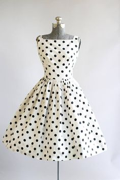 Vintage 1950s Dress / 50s Cotton Dress / Black and White Polka Dot Print Dress w/ Open Back XS/S