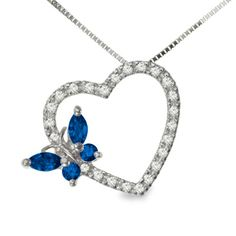 Sapphire Butterfly Heart Pendant in 10K White Gold with Diamond Accents