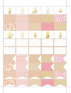 PINK CHAMPAGNE PINEAPPLES Half Box Page Flags by LiveLoveLatte