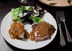 German sauerbraten, potato dumplings & salad