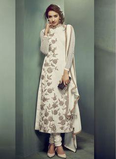 Beautiful Embroidered Net Cream Trendy Churidar Salwar Suit