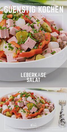Ein leckerer Leberkäse - Salat ist ein rasches Rezept perfekt für die heiße Jahreszeit. Durch seine leichte Marinade wirkt er erfrischend und sättigt doch zugleich. Eine echte Alternative zum herkömmlichen Wurstsalat. #food #recipes #rezepte #yummy #ideen Pasta Salad, Cobb Salad, Roasted Eggplant Dip, Food Garnishes, Tasty, Yummy Food, Tzatziki, Convenience Food, Green Beans
