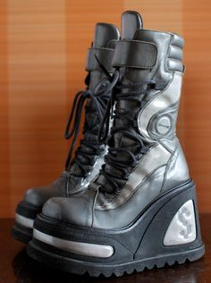 2c41db4293d SONAX unique silver gray Club Kid Rave Harajuku Techno platform boots