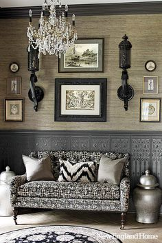 Black, white and gray interior. Interior Design by Anthony Como of Luxe Interiors Decoration Inspiration, Interior Inspiration, Inspiration Design, Home Interior, Interior Decorating, Gray Interior, Monochrome Interior, Decorating Ideas, Hallway Decorating