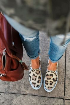 leopard slip on sneakers. #shoes