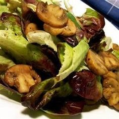 This is a warm salad: cooked mushrooms poured over mixed greens. The warm mushrooms are supposed to wilt the lettuce a bit.