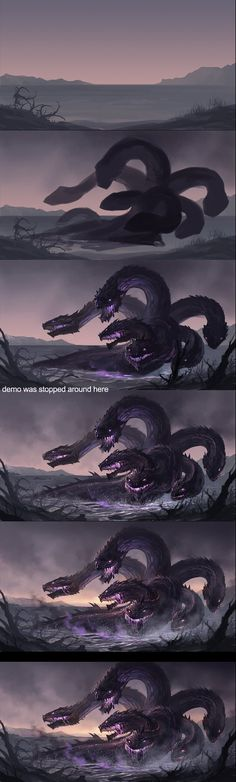 """Hydra Step by Step"" by sandara: I admire any artist who shows their process. This is a nicely implemented monochromatic piece. Also, it's reminiscent the three-headed dragon from Hercules. Digital Painting Tutorials, Digital Art Tutorial, Art Tutorials, Mythological Creatures, Fantasy Creatures, Mythical Creatures, Painting Process, Process Art, Paint Photoshop"