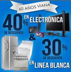 Viana: 40% en Electronica y 30% en Linea Blanca Viana está festejando sus 60 años de aniversario con muy buenos descuentos, a continuación te los presentamos:  40% de descuento en electrónica 30% de descuento en línea blanca  Estas ofertas y promociones de Viana son válidas hasta el 12 de febre... -> http://www.cuponofertas.com.mx/oferta/viana-40-en-electronica-y-30-en-linea-blanca/