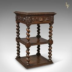 Antique Side Table, Carved Green Man English Oak Stand,  Whatnot c.1880